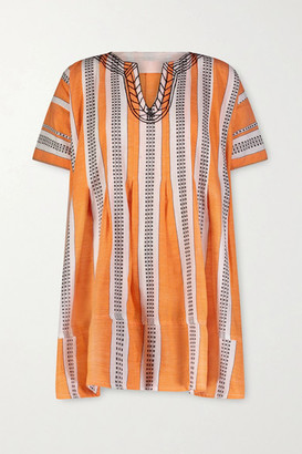 Lemlem Amira Printed Cotton-blend Gauze Mini Dress - Orange