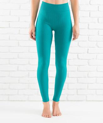 Contagious Women's Leggings TEAL - Teal High-Waist Cable-Knit Fleece-Lined Leggings - Women