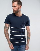 Pull&Bear Striped T-Shirt With Contrast Pocket In Navy