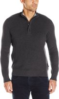 Nautica Men's Long Sleeve 1/4Zip and Button Closure Sweater