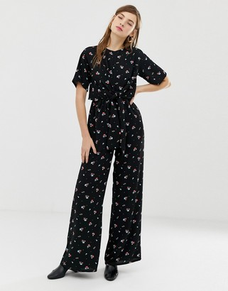 Glamorous jumpsuit with tie front in vintage floral