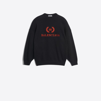 Balenciaga Embroidered fleece wool and cashmere crewneck sweater