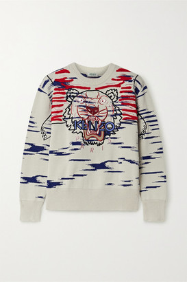 Kenzo Embroidered Appliqued Cotton-blend Sweater - Off-white