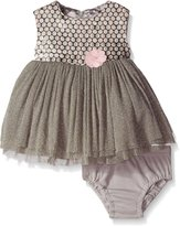 Hartstrings Baby-Girls Woven Dot Jacquard Bodice and Sparkle Tulle Skirt Dress