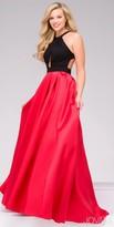 Jovani Keyhole Halter Open Back Pleated Prom Dress