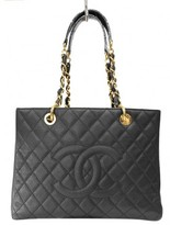 Chanel excellent (EX Black Quilted Caviar Leather Grand Shopping Tote GST Bag