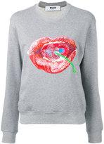 MSGM lip and cherry sweatshirt - women - Cotton/Viscose - XS