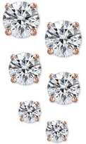 Giani Bernini 3-Pc. Cubic Zirconia Sterling Silver Stud Earrings in 18k Rose Gold-Plated, 18k Gold-Plated and Sterling Silver, Created for Macy's