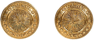One Kings Lane Vintage Chanel Coin Clip Earrings - 1990 - Vintage Lux