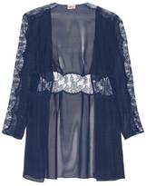 Agent Provocateur Willa Leavers Lace-Paneled Silk-Chiffon Robe
