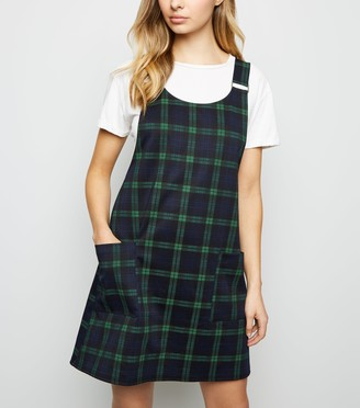 New Look Check Buckle Strap Pinafore Dress