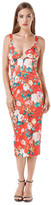 Again Collection - Dylan Structured Pencil Dress in Red, Print