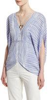 Halston Short-Sleeve Striped Kaftan Top