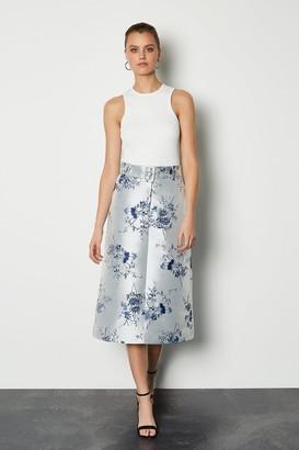 Karen Millen Jacquard Midi Belted Skirt