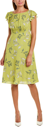 Adrianna Papell Tranquil Leaves A-Line Dress