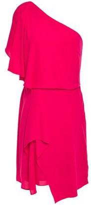 Halston One-shoulder Draped Crepe De Chine Mini Dress