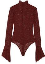Alix - Haven Stretch-corded Lace Bodysuit - Brick