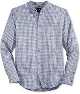 Armani Exchange Men's Plaid Banded-Collar Shirt