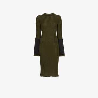 Bottega Veneta Womens Green Knitted Cashmere Midi Dress