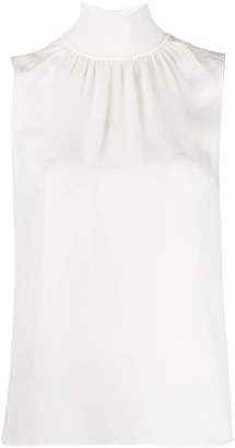 Theory ribbed mock neck knitted top