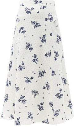 Alessandra Rich Floral-print Silk-satin Midi Skirt - White Print
