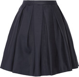 Burberry Pleated wool and silk-blend mini skirt