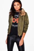 Boohoo Emma Faux Fur Detachable Collar MA1 Bomber