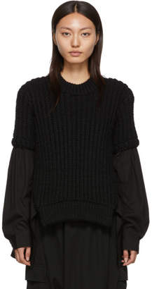 Yohji Yamamoto Regulation Black R-Sweat Shirt Detail Sweater