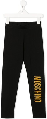 MOSCHINO BAMBINO Sequin Logo Embroidered Leggings