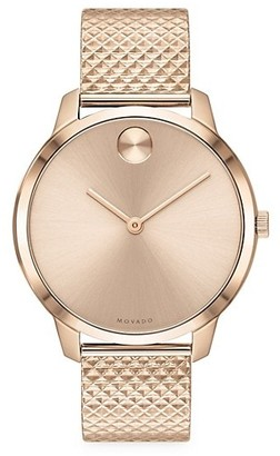 Movado BOLD Ionic-Plated Carnation Goldtone Stainless Steel Mesh Bracelet Watch