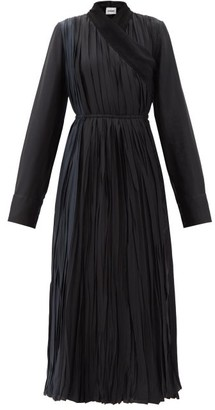 Jil Sander Silk Chiffon-trimmed Pleated-satin Wrap Dress - Black