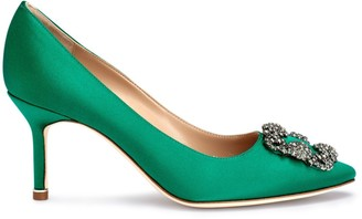Manolo Blahnik Hangisi 70 emerald satin pumps