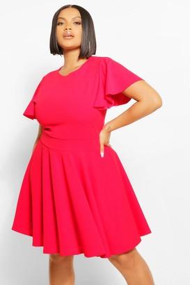 boohoo Plus Angel Sleeve Skater Dress