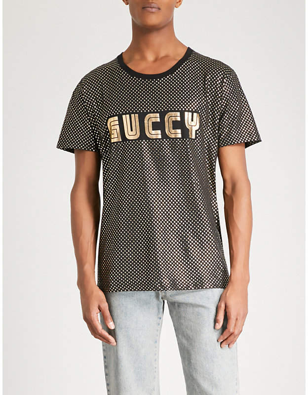 Gucci Guccy-print metallic cotton-jersey T-shirt
