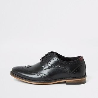 River Island Boys Black lace-up leather brogues