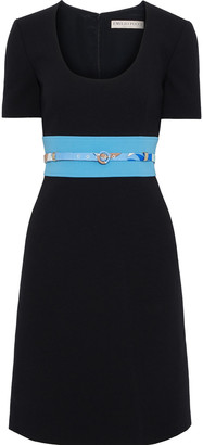 Emilio Pucci Belted Two-tone Stretch-wool Dress
