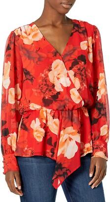 Vince Camuto Women's Long Sleeve Asymmetric Peplum Cinch Waist Floral Print Blouse