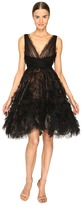 Marchesa V-Neck Cocktail in Tulle w/ Voluminous Ruffle Skirt Women's Dress
