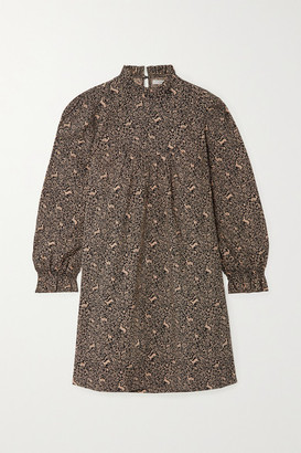 DÔEN Marabella Ruffled Printed Cotton Mini Dress - Black