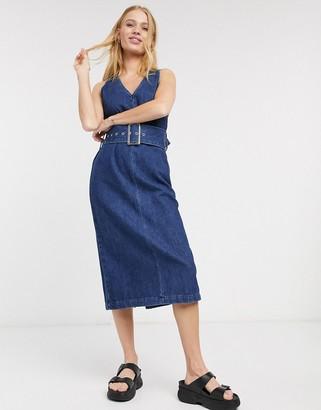 Selected demina belted denim dress in blue