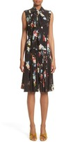 Erdem Women's Richelle Tie Neck Floral Print Silk Crepe De Chine Dress