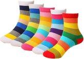 CHUNG Girls Boys 5 Pack Thin Cotton Crew Socks with Cute Cartoon Design