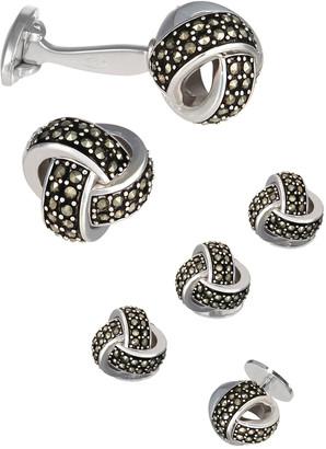 Jan Leslie Marcasite Knot Cufflinks & Studs Set