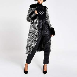 River Island Black zebra print faux fur trim swing coat