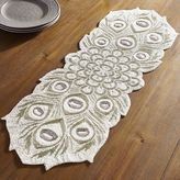 Pier 1 Imports Beaded White Peacock Table Runner - 36""