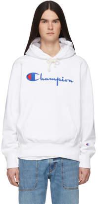 Champion Reverse Weave White Script Logo Hoodie