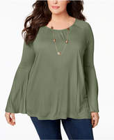 Style&Co. Style & Co Plus Size Lantern-Sleeve Top, Created for Macy's