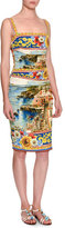 Dolce & Gabbana Sorrento Sleeveless Ruched Tank Dress, Yellow/Blue/Multi