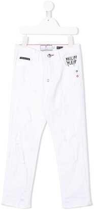 Philipp Plein Junior Logo Straight-Leg Jeans