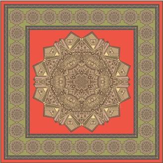 Gisy Earth Mandala Square Silk Twill Scarf